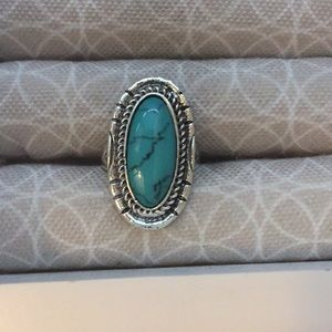 Bohemian Simulated Turquoise Silver Plated Ring